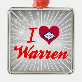 I Love Warren, Arkansas Square Metal Christmas Ornament