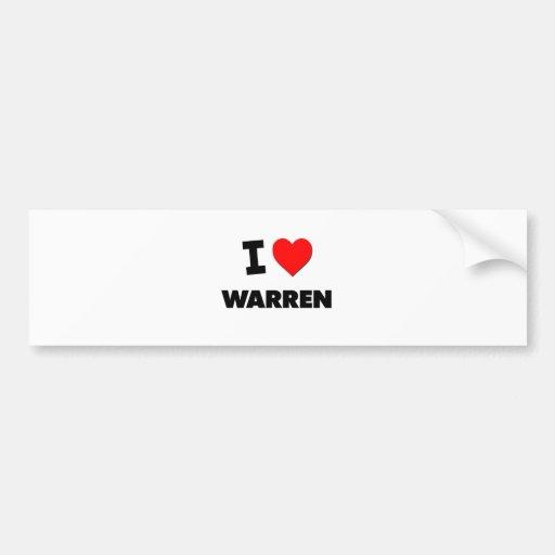 I love Warren Car Bumper Sticker