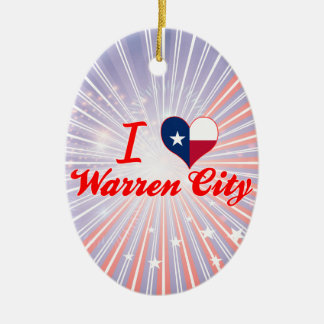 I Love Warren City, Texas Double-Sided Oval Ceramic Christmas Ornament