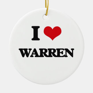 I Love Warren Double-Sided Ceramic Round Christmas Ornament
