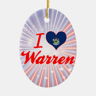 I Love Warren, Maine Double-Sided Oval Ceramic Christmas Ornament