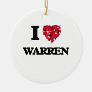 I love Warren Michigan Double-Sided Ceramic Round Christmas Ornament
