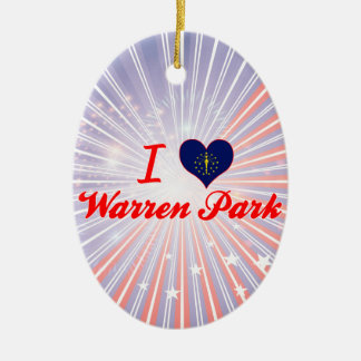 I Love Warren Park, Indiana Double-Sided Oval Ceramic Christmas Ornament