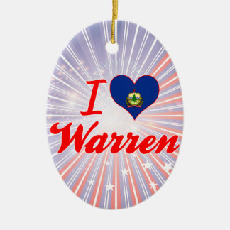 I Love Warren, Vermont Double-Sided Oval Ceramic Christmas Ornament