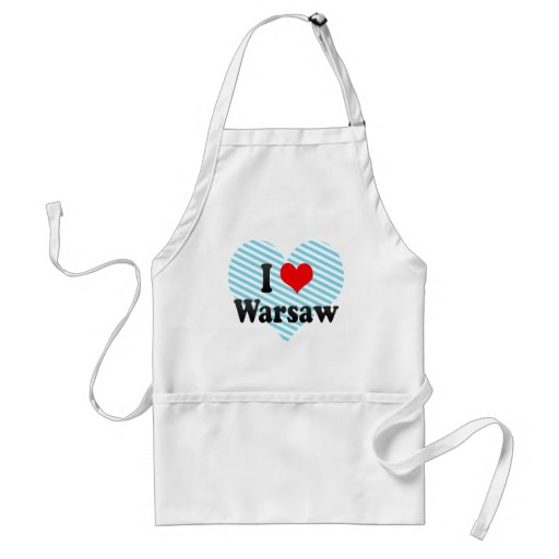 I Love Warsaw, Poland Aprons