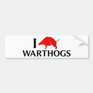 I Love Warthogs Car Bumper Sticker