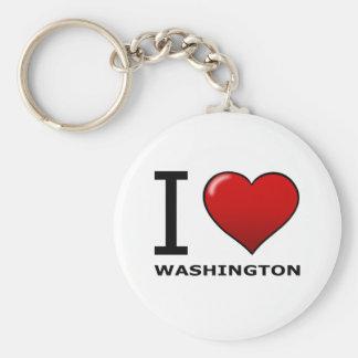 I LOVE WASHINGTON BASIC ROUND BUTTON KEYCHAIN