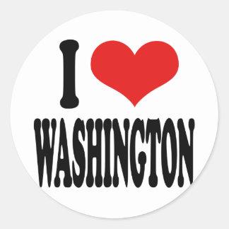 I Love Washington Classic Round Sticker