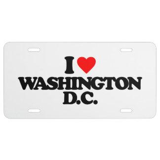 I LOVE WASHINGTON D.C. LICENSE PLATE