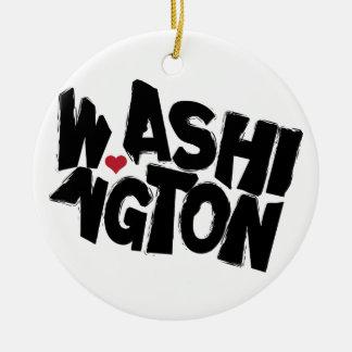 I Love Washington State Map with Heart Ceramic Ornament