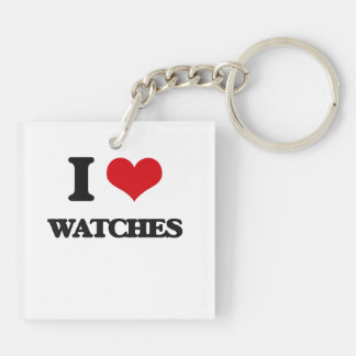 I love Watches Double-Sided Square Acrylic Keychain