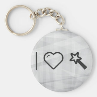I Love Watching Magics Basic Round Button Keychain