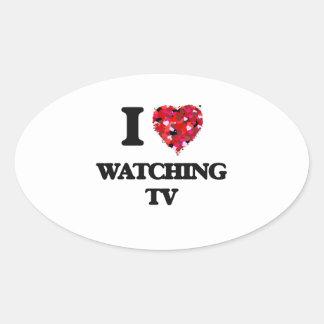 I love Watching Tv Oval Sticker