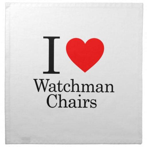 I Love Watchmen Chairs Printed Napkin