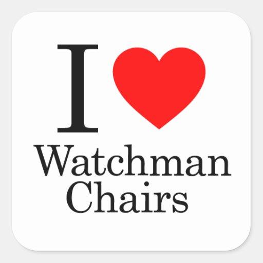 I Love Watchmen Chairs Square Sticker