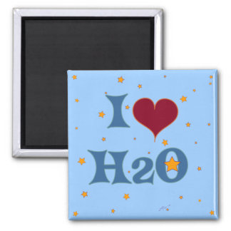 I Love Water! 2 Inch Square Magnet