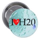 I Love Water 3 Inch Round Button