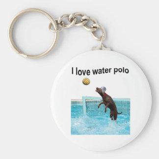 I love water polo basic round button keychain
