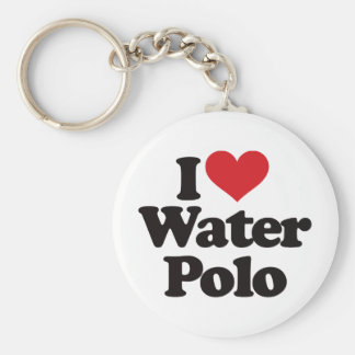 I Love Water Polo Basic Round Button Keychain