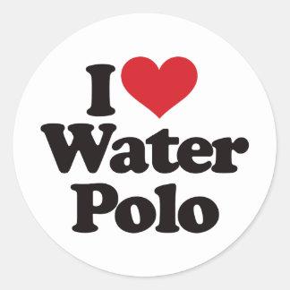 I Love Water Polo Classic Round Sticker