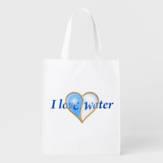 I Love Water. Reusable Grocery Bags