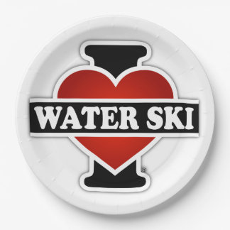 I Love Water Ski 9 Inch Paper Plate