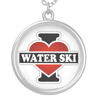 I Love Water Ski Silver Plated Necklace