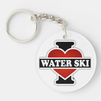 I Love Water Ski Single-Sided Round Acrylic Keychain