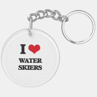 I love Water Skiers Double-Sided Round Acrylic Keychain