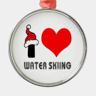 I Love Water Skiing Design Metal Ornament