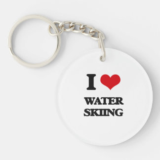 I love Water Skiing Single-Sided Round Acrylic Keychain