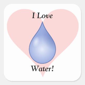 I Love Water! Square Sticker