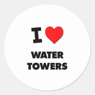 I love Water Towers Classic Round Sticker
