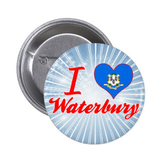 I Love Waterbury, Connecticut Pinback Button