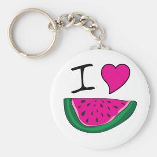 I Love Watermelon Basic Round Button Keychain