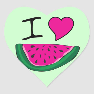 I Love Watermelon Heart Sticker