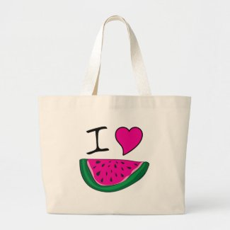 I Love Watermelon Large Tote Bag