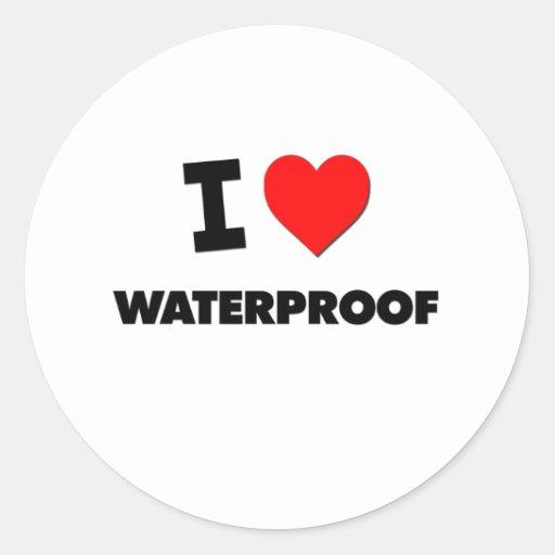 I love Waterproof Round Sticker