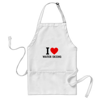 I Love Waterskiing Adult Apron