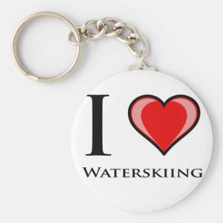 I Love Waterskiing Basic Round Button Keychain