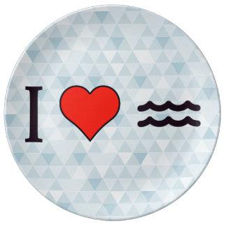 I Love Waves Dinner Plate