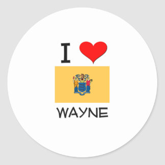 I Love Wayne New Jersey Round Stickers