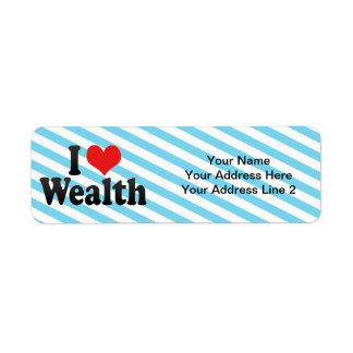 I Love Wealth Return Address Label