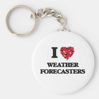 I love Weather Forecasters Basic Round Button Keychain