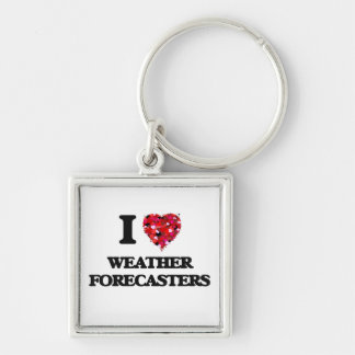 I love Weather Forecasters Silver-Colored Square Keychain