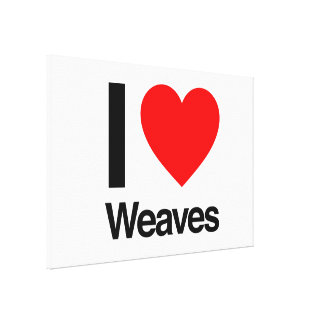 i love weaves stretched canvas prints