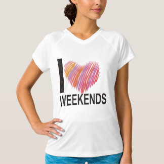 I Love Weekends Women's Double Dry Training V-Neck T-Shirt