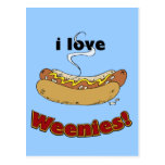 I Love Weenies ~ Hot Dogs Postcards