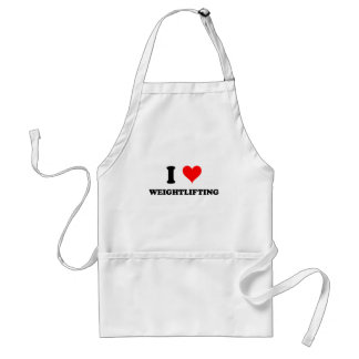 I Love Weightlifting Adult Apron