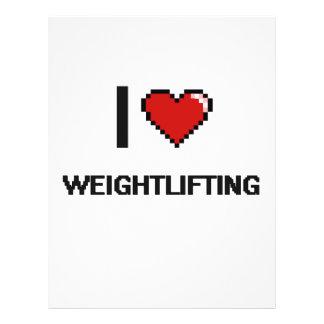 """I Love Weightlifting Digital Retro Design 8.5"""" X 11"""" Flyer"""